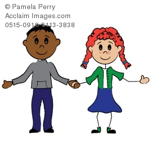 girl and clip art boy of Image