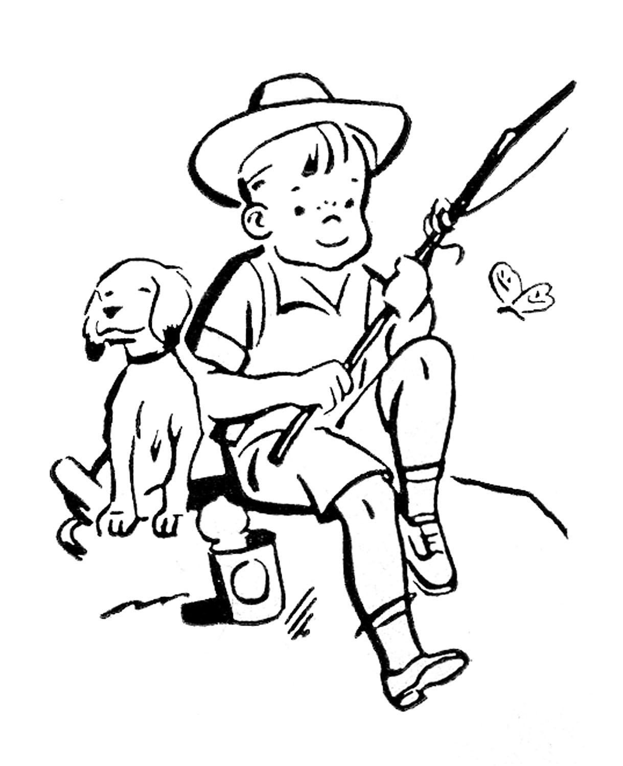 Vegetable garden kids drawing - Boy 20fishing 20clipart