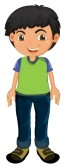 Vector Clipart Of A Happy Boy Standing By His Bike ... |Clipart Boy Standing