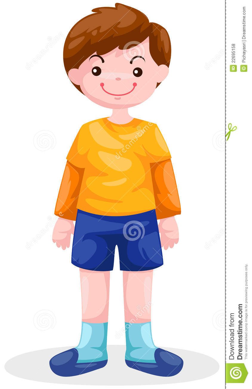 Vector illustration of cute boy standing. |Clipart Boy Standing