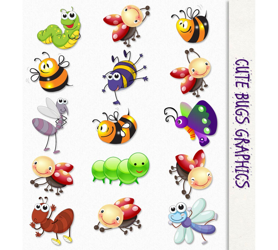 Cute Bugs Clip Art Insects