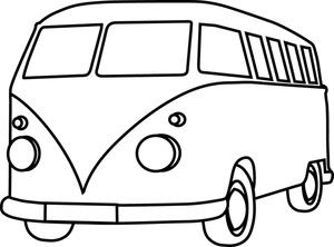 Bus Clipart Black And White on volkswagen vintage car