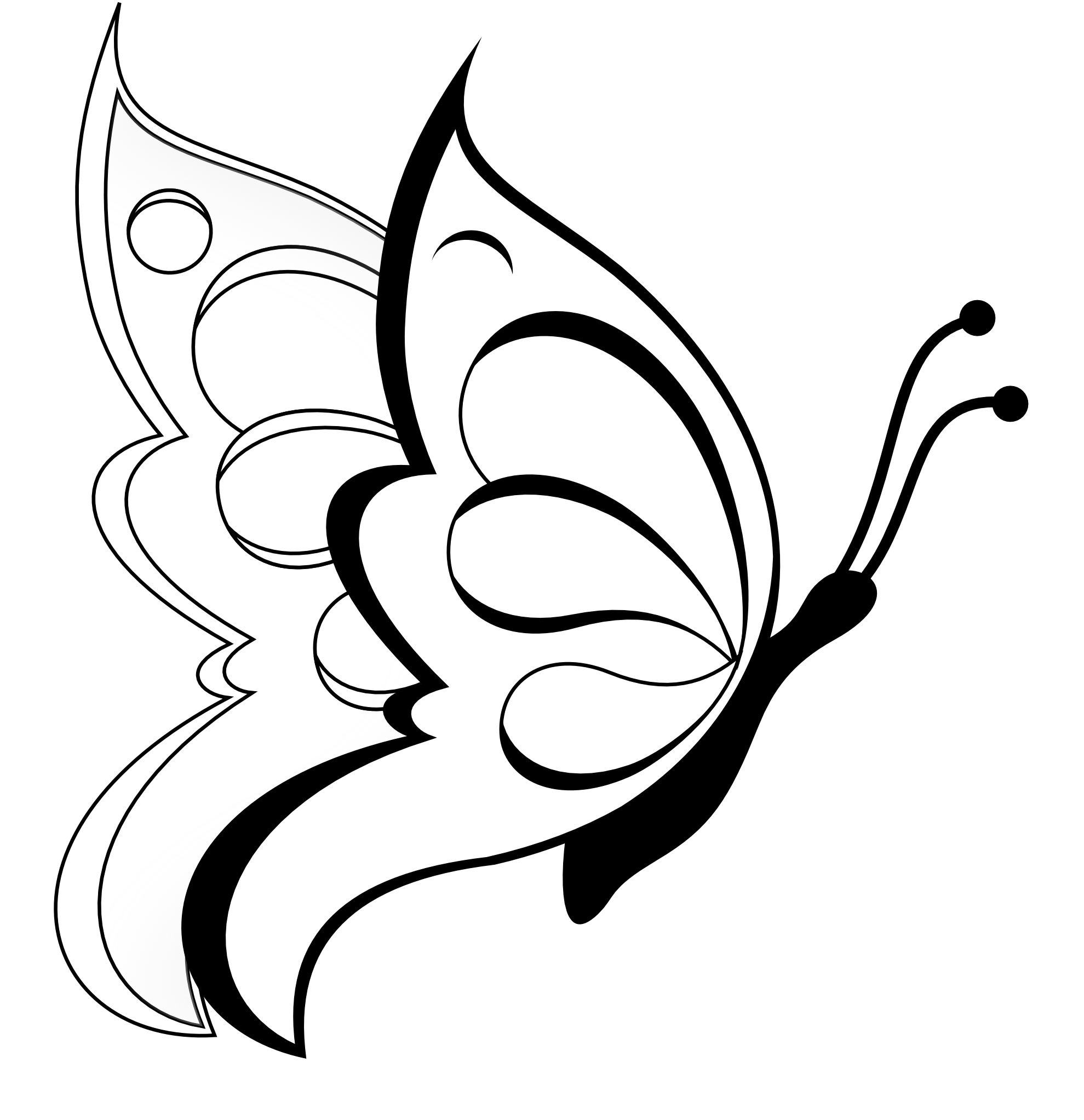 Simple Black And White Line Art : Butterfly clipart black and white panda free