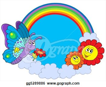 Colorful Butterfly and Flower Clip Art