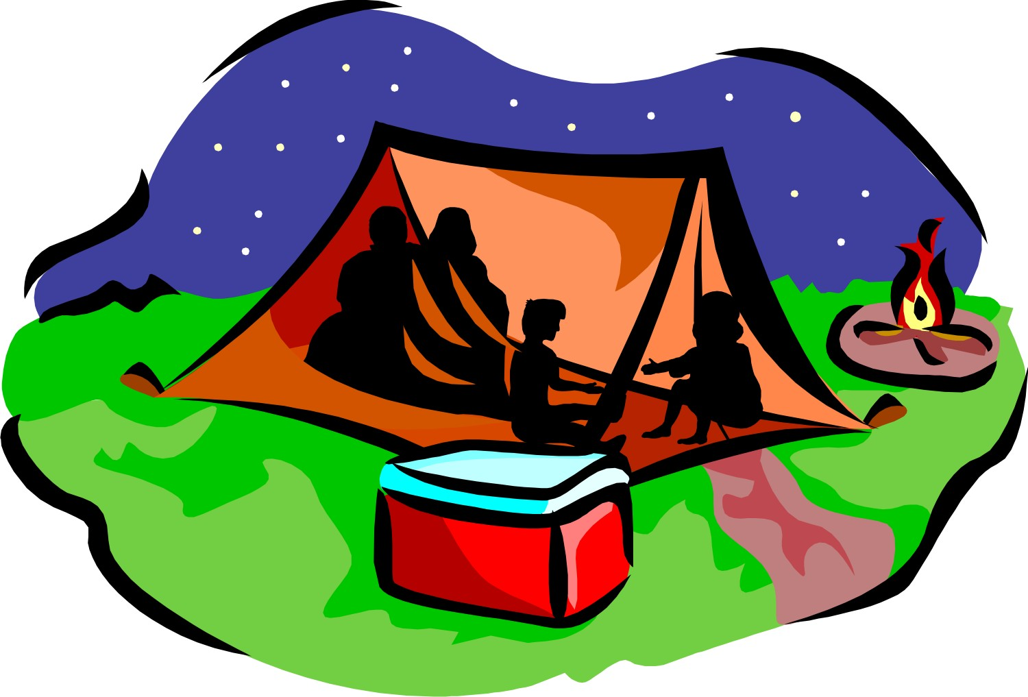 Kids camping cartoon