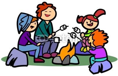 Family Campfire Cartoon