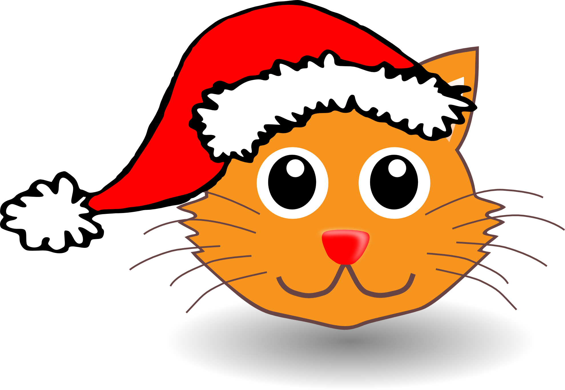 Cat With Santa Hat Clipart