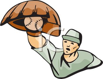Baseball player catching clipart