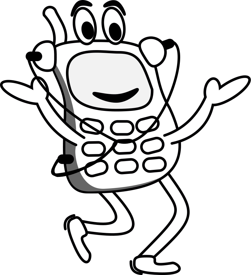 cell phone clipart black and white - photo #33