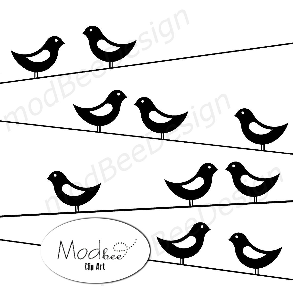 Mod Birds on Wire Clip Art | Clipart Panda - Free Clipart Images