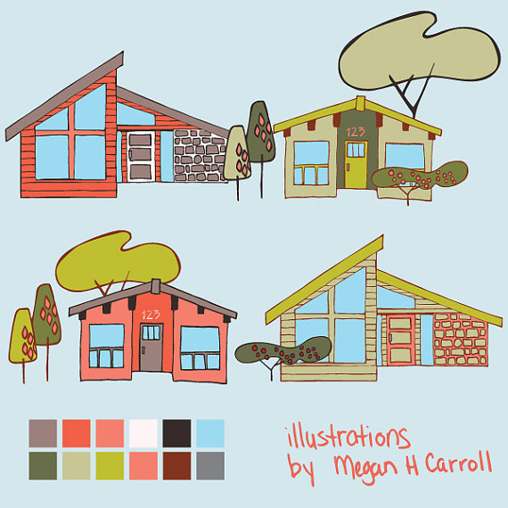 Mid Century Modern Houses Clip | Clipart Panda - Free ...