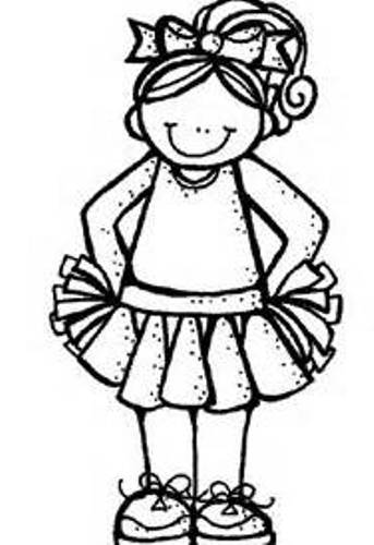 Cheerleading clipart black and white