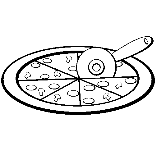 Coloring page Pizza colored by | Clipart Panda - Free Clipart Images