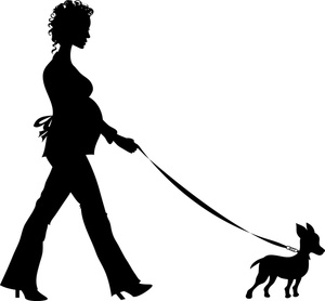 Lady And Man Walking Dog Silhouette