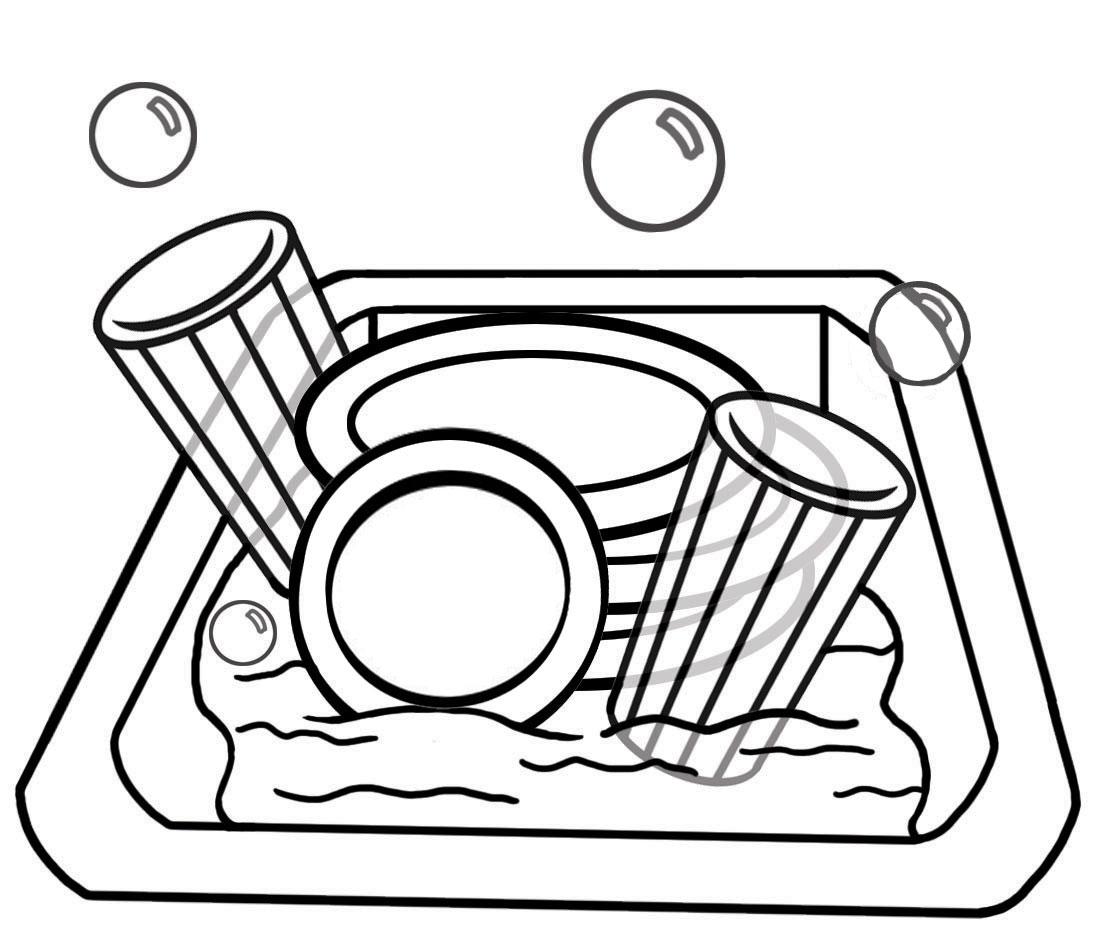 Children Kitchen Play Clipart Black And White