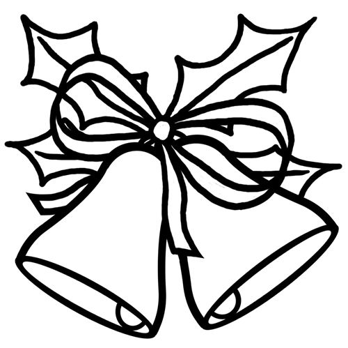 christmas bell clipart black and white