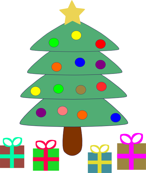 Presents Under The Christmas Tree: Christmas Tree With Presents Clipart