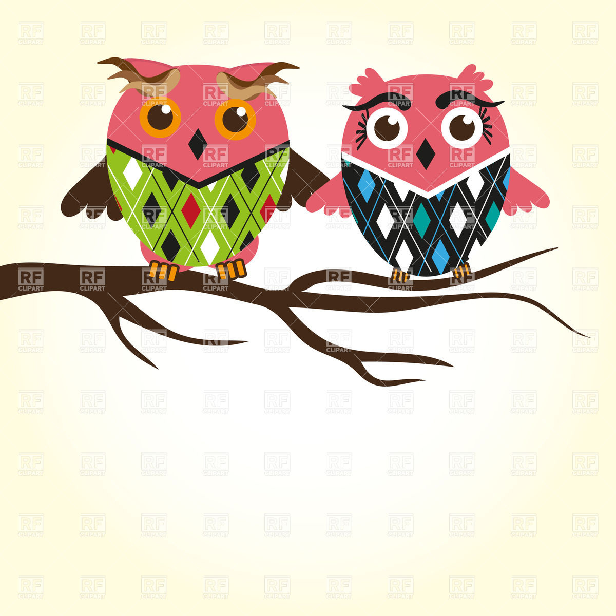 clip-art-brown-tree-branches-owl-on-branch-clip-art-two-cute-owls ...
