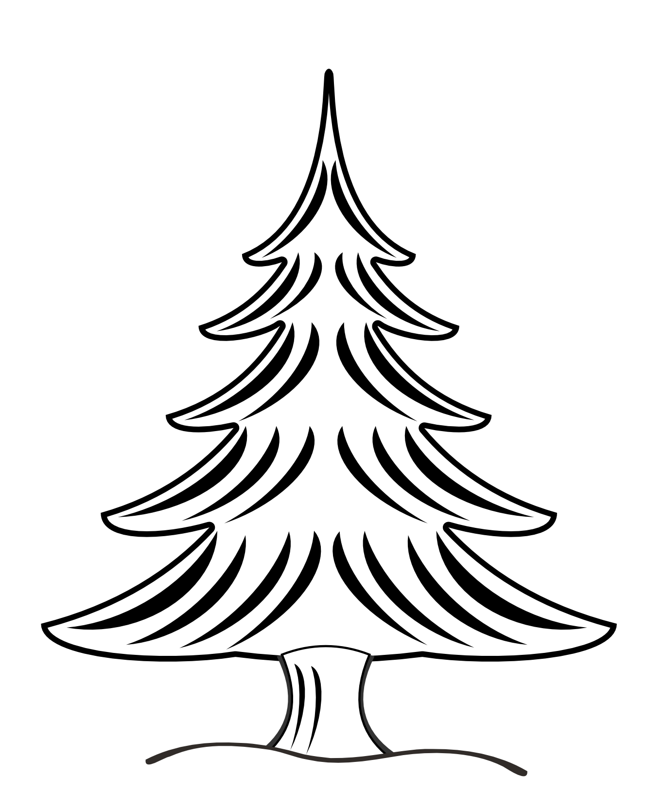 Clip Art Christmas Tree Black And White | Clipart Panda ...