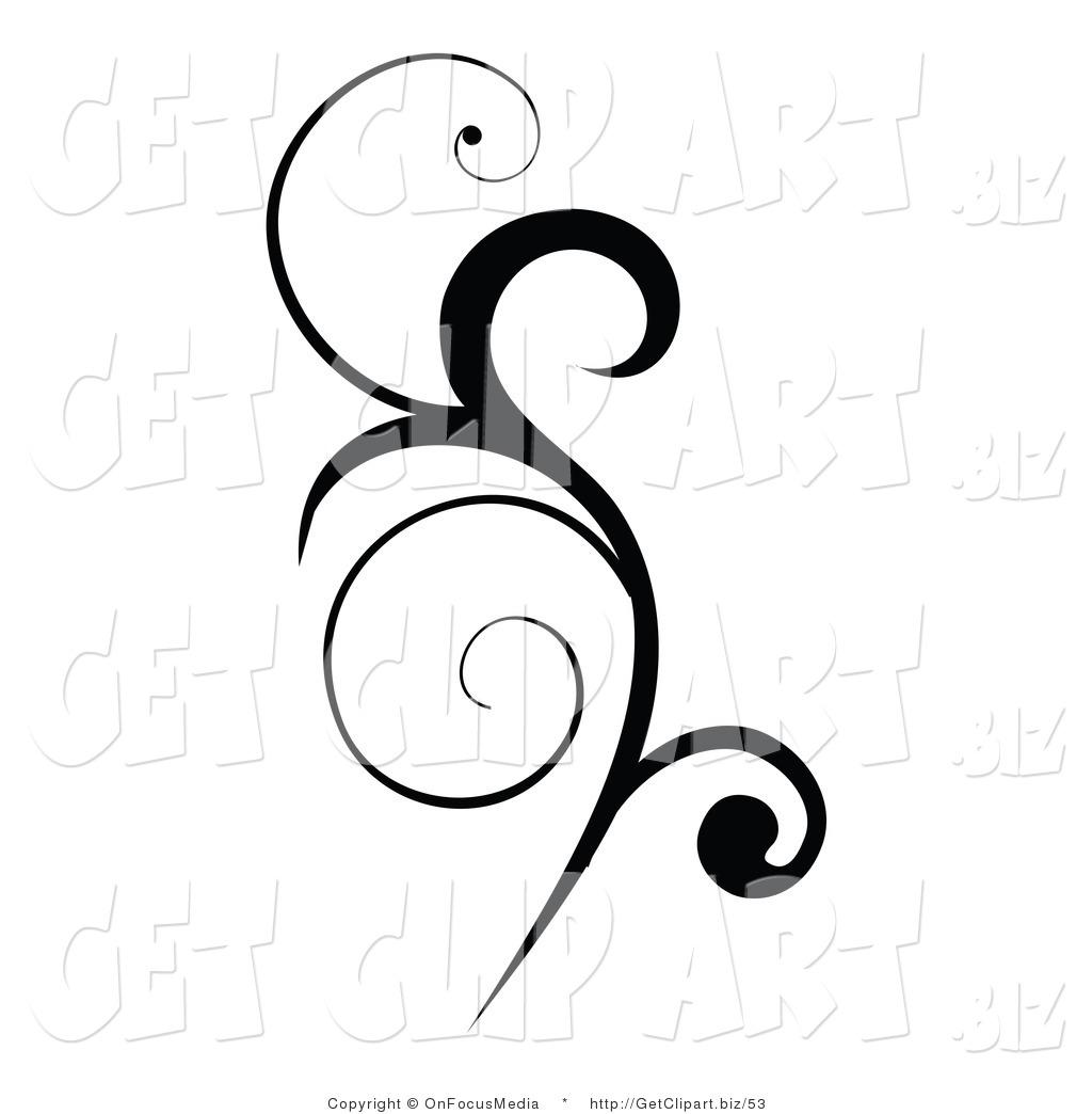 Clipart design clip art of a black vertical scroll design element