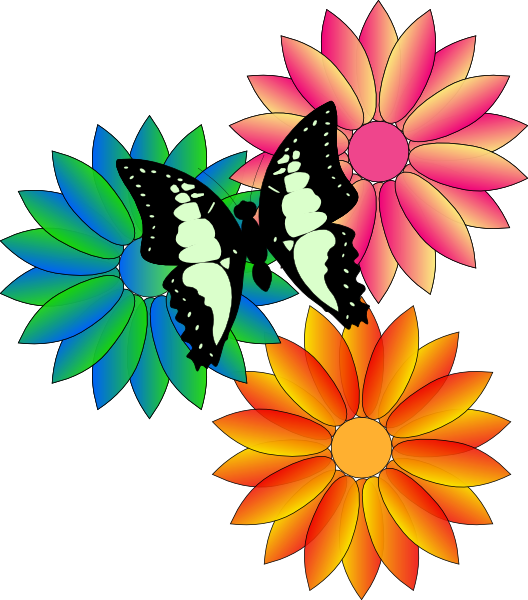 Clipart Flowers And Butterflies
