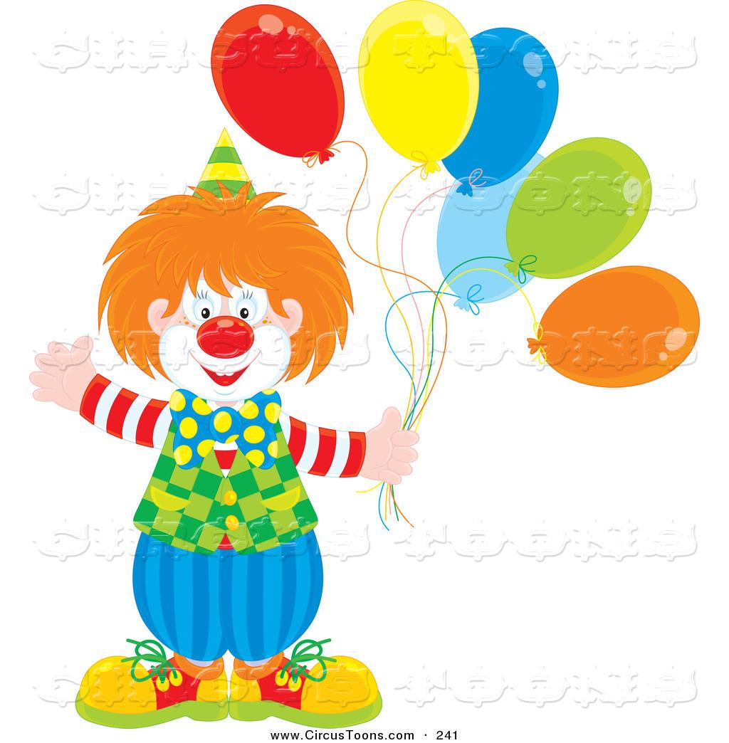 Clown Holding Balloons Clip Art
