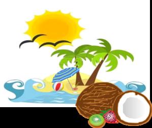 Beach sun. Coconut clip art clipart