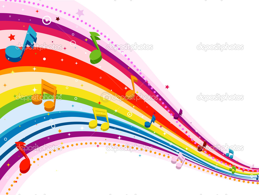 colorful music notes in a line clipart panda free
