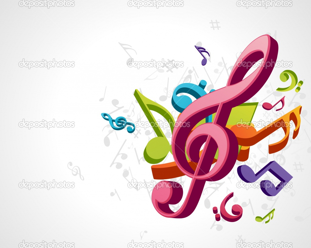 3d Colorful Music Notes Wallpaper