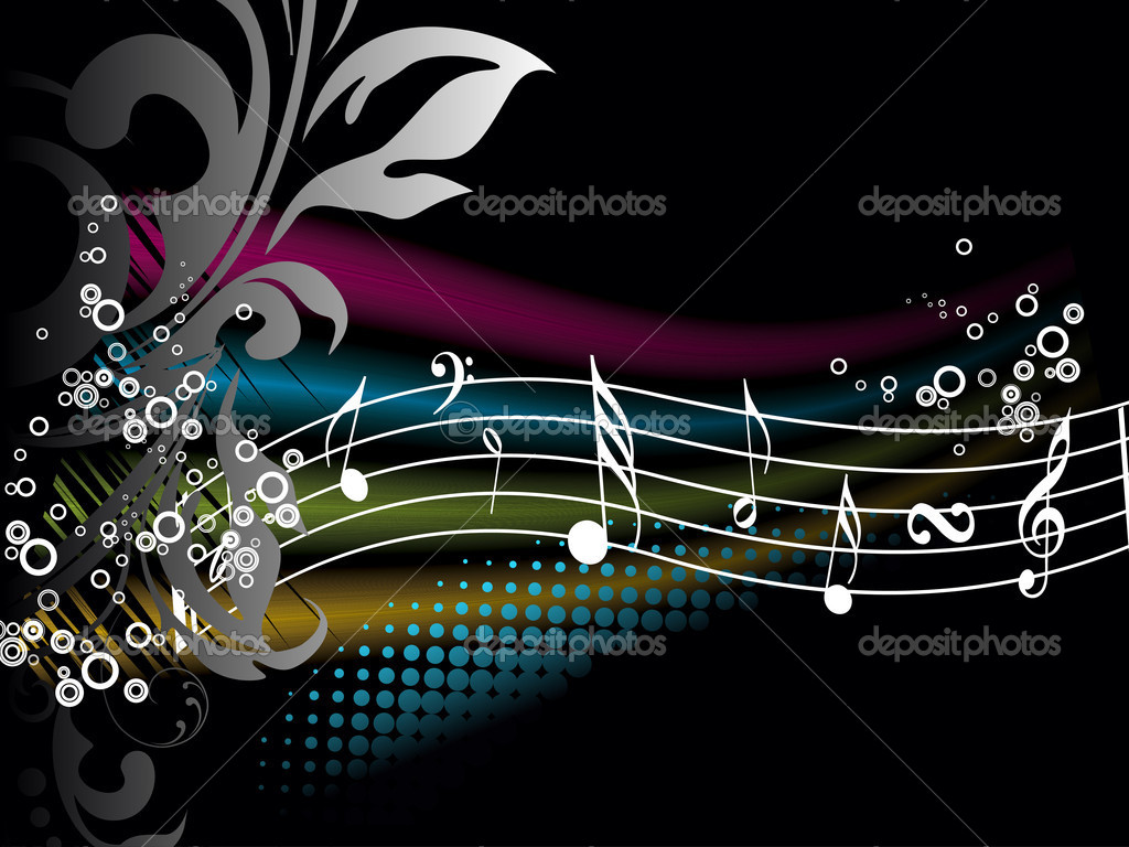 Music Abstract Backgrounds: Colorful Music Notes Wallpaper