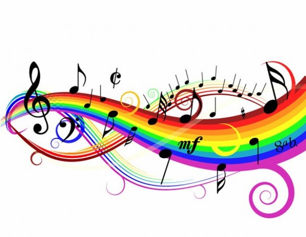 Colorful Musical Notes Background