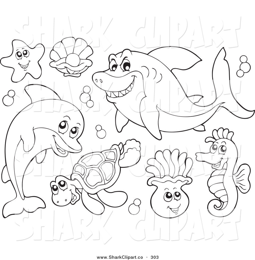 Coloring pages clipart clipart panda free clipart images for Sea creature coloring page