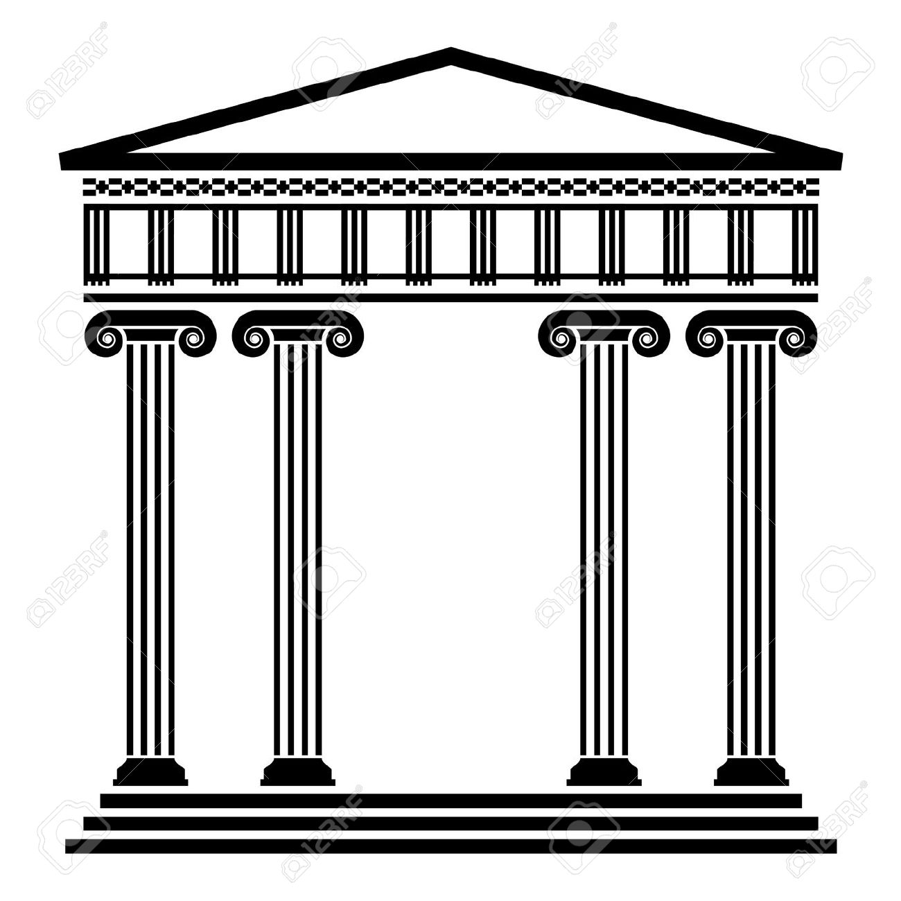 Column Clipart 12496950 Vector Ancient Greek Architecture With Columns