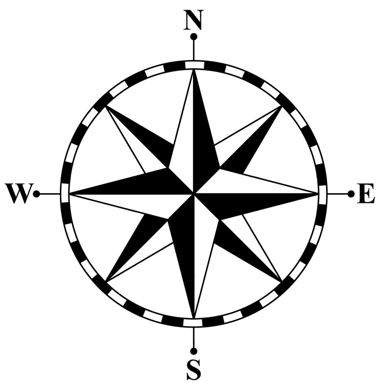 CLIPART COMPASS ROSE  Royalty Compass Rose Clipart Black And White