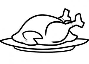 Cooked Turkey Coloring Page Free