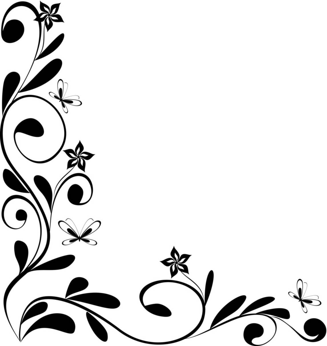 Line Art Flower Corner : Simple corner border clipart panda free