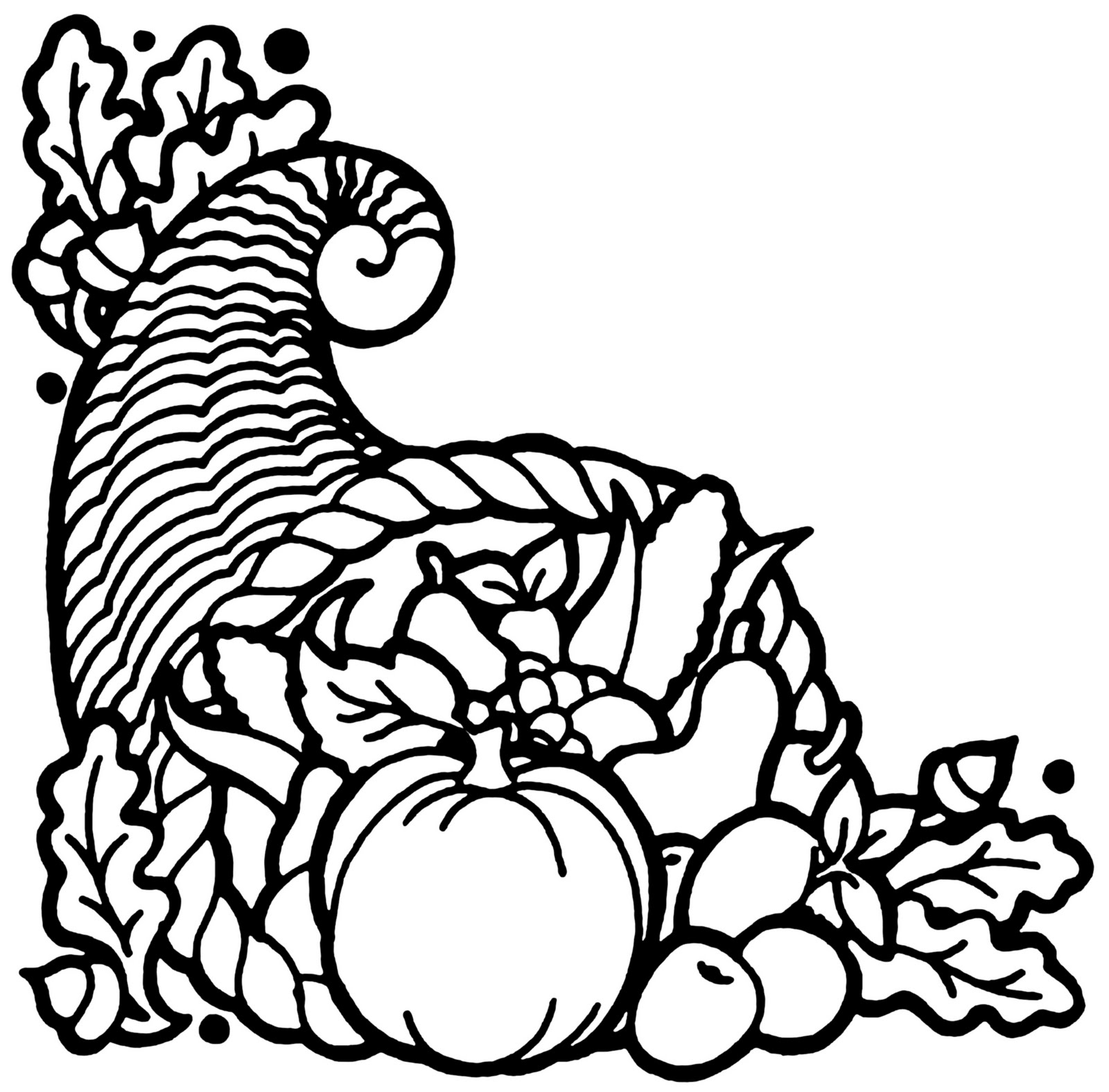 Cornucopia Clip Art Black And White on horn of plenty coloring pages