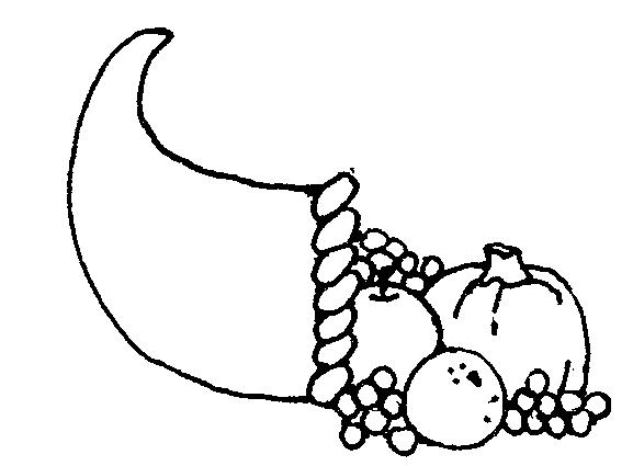 Cornucopia Black White Clipart