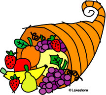 Thanksgiving Cornucopia Black And White Clipart