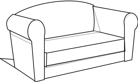 Couch clipart black and white clipart panda free for Sofa clipart