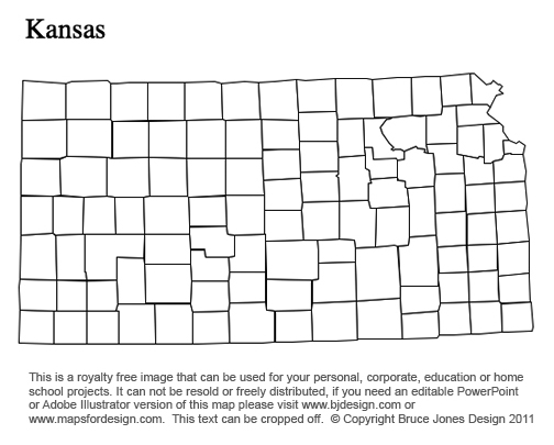 Kansas US State County map, | Clipart Panda - Free Clipart Images