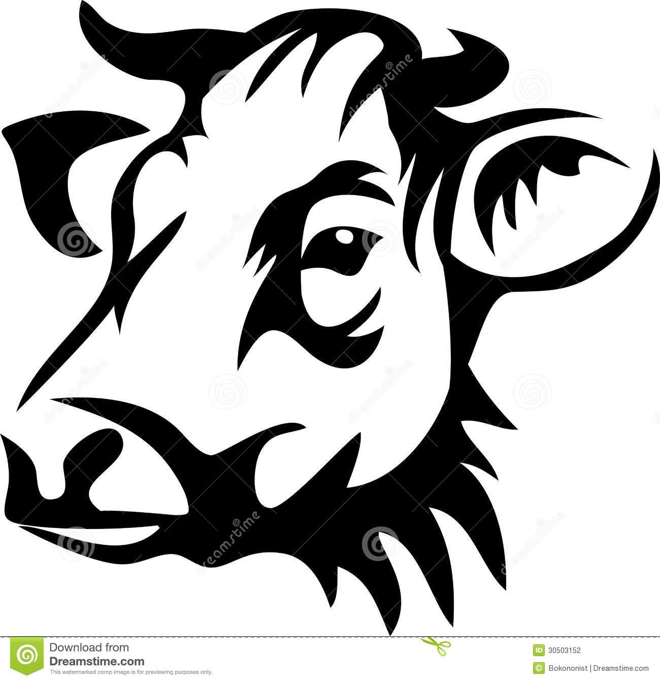 Black cow head clipart - photo#1