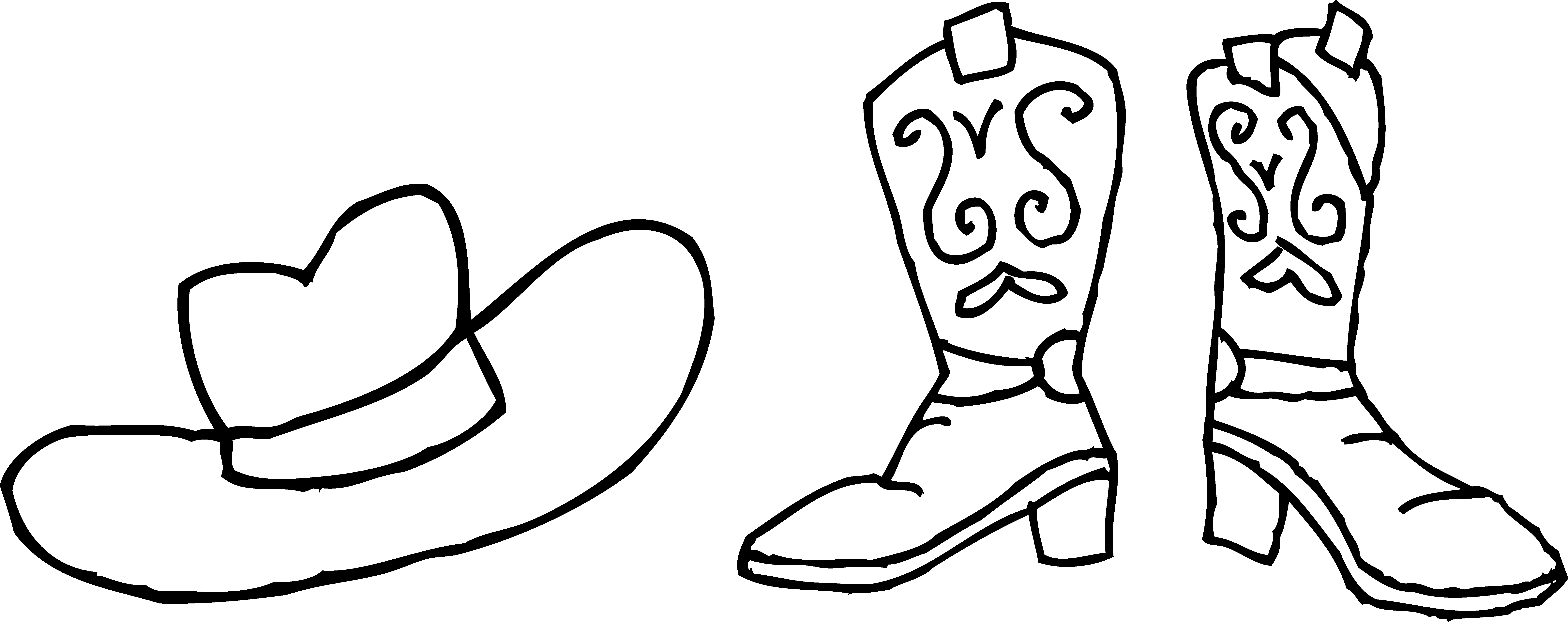 Cowboy boots clipart black and white clipart panda for Cowboy boots coloring pages to print