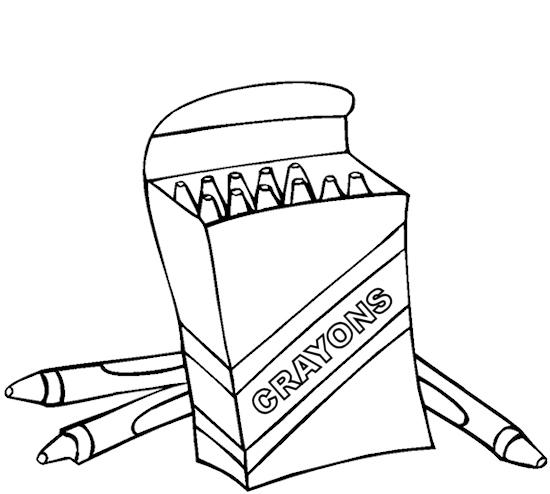 Box of crayons coloring page clipart panda free Coloring book and crayons