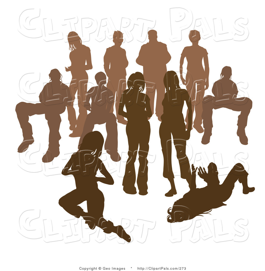 Standing crowd silhouette - photo#40