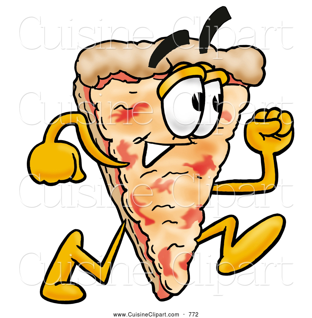 Cartoon Characters Running : Pizza pie clipart panda free images