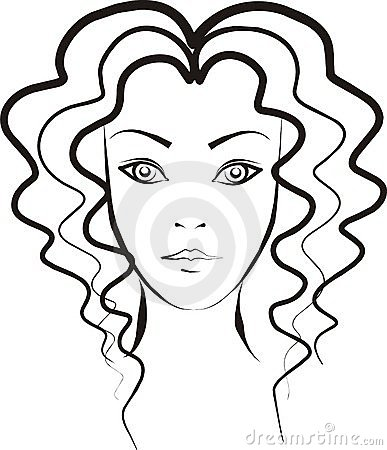 Curly hair girl clip art