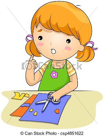 Kid Cutting With A Knife Clip Art
