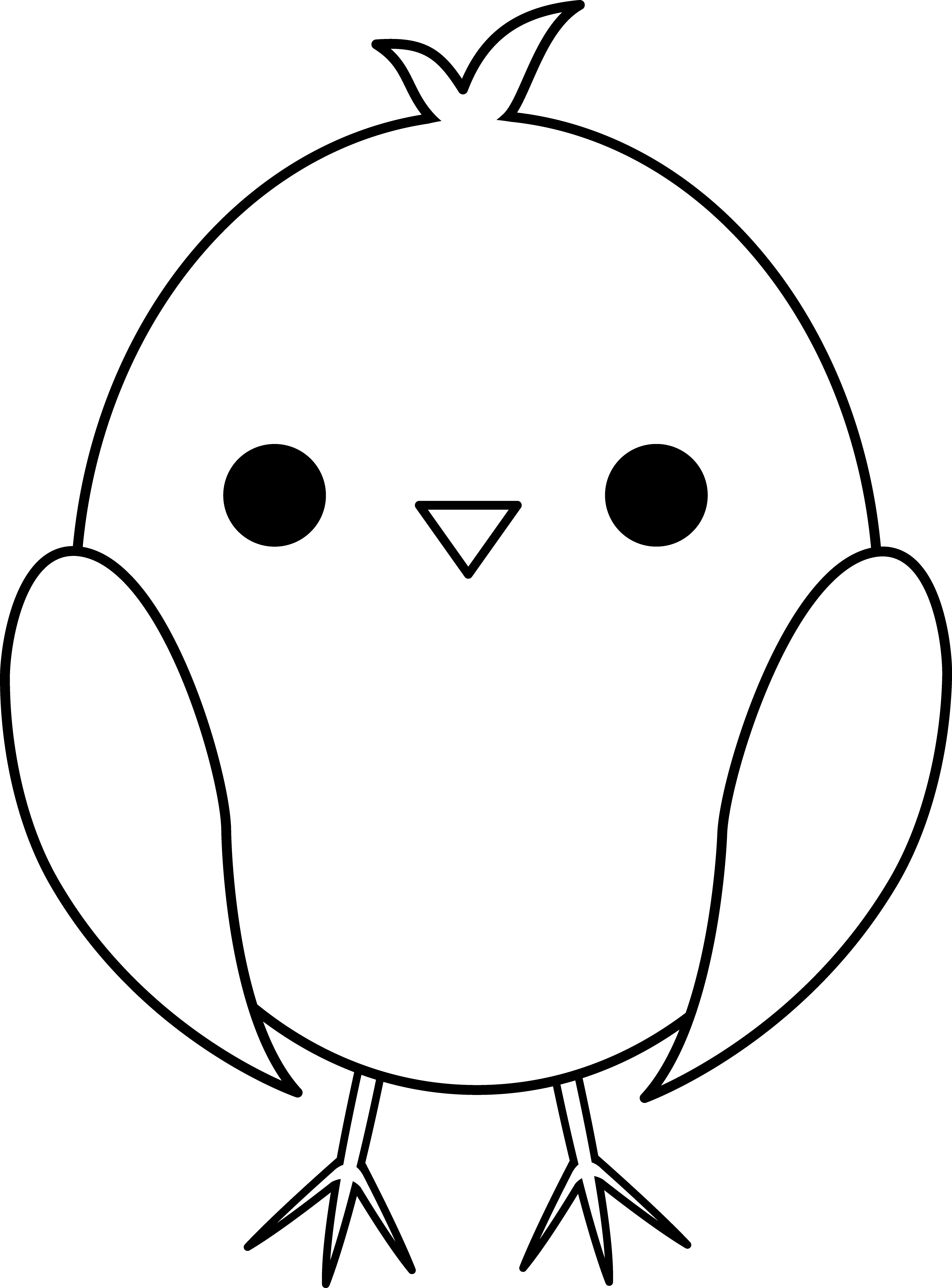 Baby Chicken Clipart Black And White
