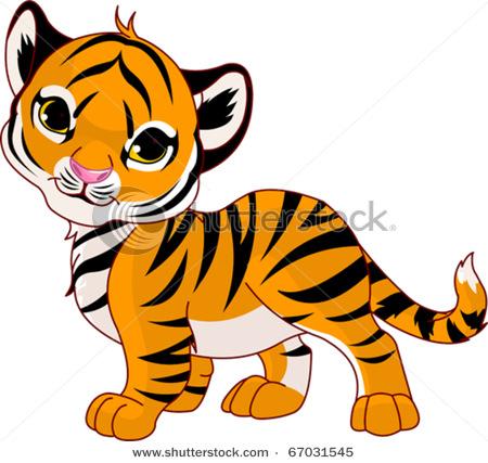 Cute Tiger Clipart Bla...